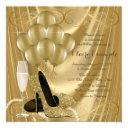 hollywood glamour gold birthday party invitations