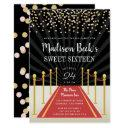 hollywood red carpet sweet sixteen invitation