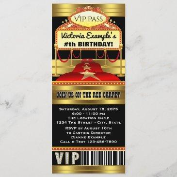 hollywood red carpet ticket party invitations