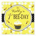 honey bee cupcake first birthday invitation 2
