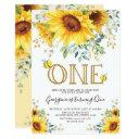 honey bee sunflower 1st birthday summer floral invitation