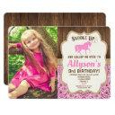 horse birthday girl pink gold rustic photo invitation