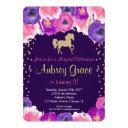 horse birthday invitations, pink purple gold invitations