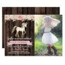 horse cowgirl photo girl pony birthday party invitations