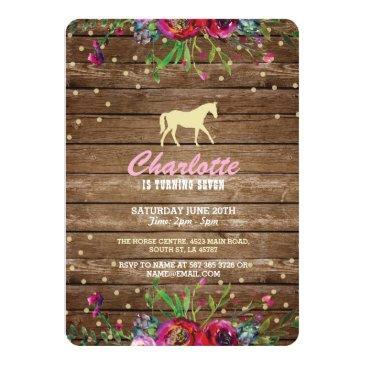 horse party floral invite pony rustic invitations