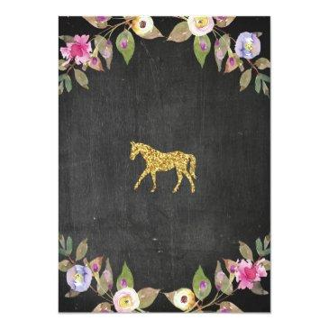Small Horse Riding Party Invite Pony Chalk Invitation Back View