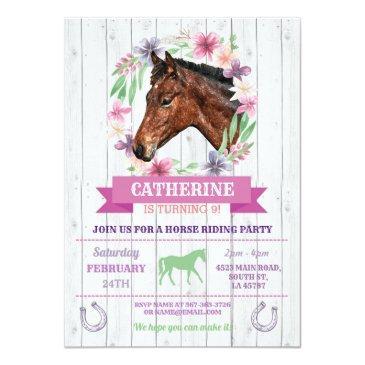 horse riding party pink pony horseback birthday invitation