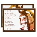 horse sketch and snaffle bit in brown birthday invitation
