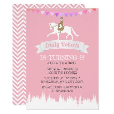 horseback riding horse party pink girl birthday invitation