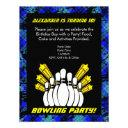 hot blue boy personalized bowling party invitation