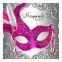 hot pink and silver mask masquerade party invitation