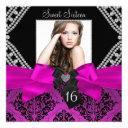 hot pink diamond bow & black damask photo sweet 16 invitation