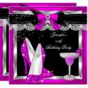 hot pink glitter hi heels silver cocktail party invitation