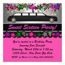 hot pink limousine birthday party invitations