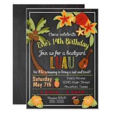 hula luau party invitations