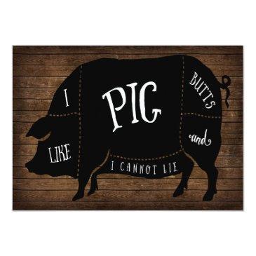 i like pig butts and i cannot lie bbq wood chalk invitations