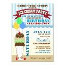 ice cream party birthday invitations
