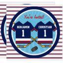 ice hockey twins jersey v2 1st birthday party invitations