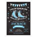 ice skating birthday invitation / boy / blue grey