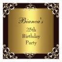 invitation 25th birthday party black gold elite