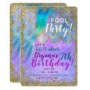 iridescent pearl glitter mermaid birthday party invitations