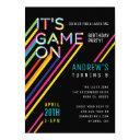 it's game on colorful neon laser tag birthday invitations