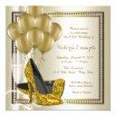 ivory gold diamond high heel shoe birthday party invitation