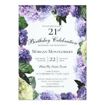Small Ivory & Purple Hydrangeas   White 21st Birthday Invitation Front View