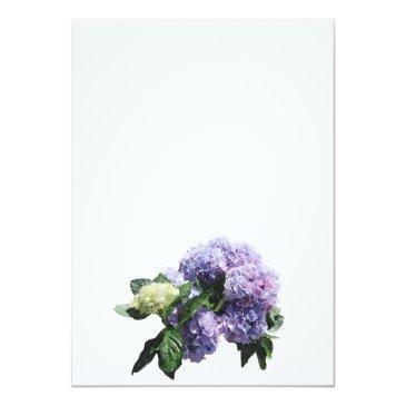 Small Ivory & Purple Hydrangeas   White 21st Birthday Invitation Back View