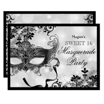 jewel mask & damask silver masquerade sweet 16 invitations