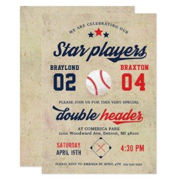 joint twin baseball birthday invitations