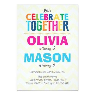 joint twin birthday party invitations
