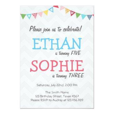 joint twin birthday party invitation chevron