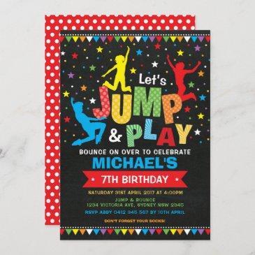 jump, bounce, play! trampoline birthday party invitation