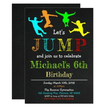 jump gymnastics flip chalkboard boy birthday invitations