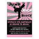 jump punch kick block karate party birthday invitation