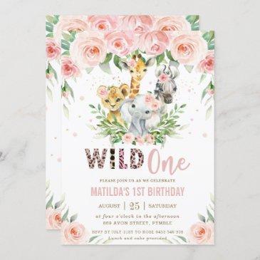 jungle animal safari blush floral 1st birthday invitation