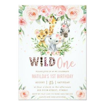 Small Jungle Animal Safari Blush Floral 1st Birthday Invitation Front View