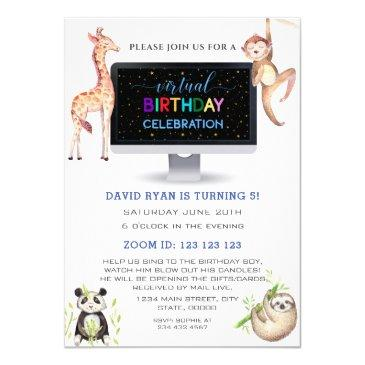 jungle forest friends boy virtual birthday party invitation