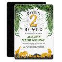 jungle, safari, born 2 be wild, second birthday invitation