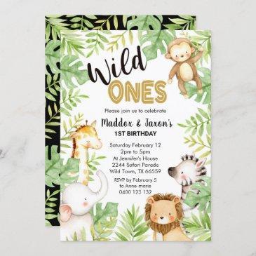 jungle wild ones 1st birthday invitation twins