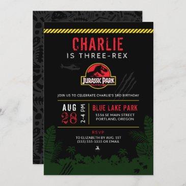 jurassic park   three-rex third birthday invitation