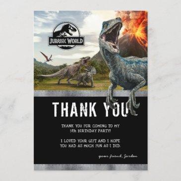 jurassic world   dinosaur birthday thank you invitation