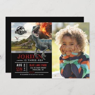 jurassic world   dinosaur three-rex photo invitation