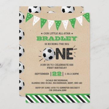 kicking the big one   soccer 1st birthday invitation
