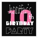 kid's 10th birthday custom name modern pink invitations