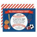 kids baseball sports birthday party invitation