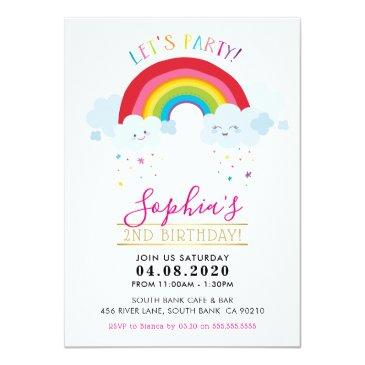 Small Kids Birthday Party Invite Kawaii Rainbow Clouds Front View