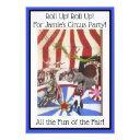 kids circus party invitation -art invite