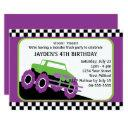 kids monster truck racing birthday party invitation